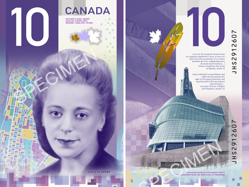 Billet de 10 $ canadien figurant Viola Desmond