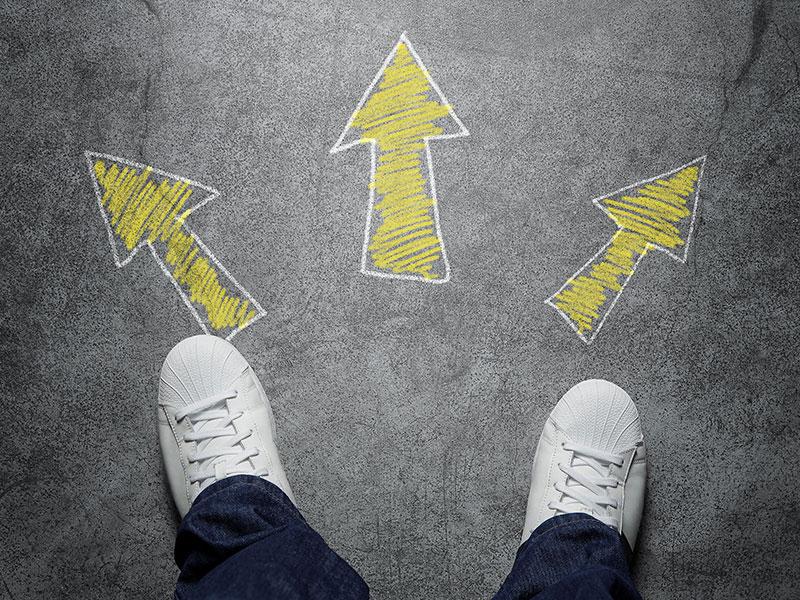 Flèches pointant dans plusieurs directions.