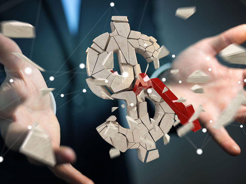 Signe de dollar en 3D explosant entre les mains ouvertes d'un homme d'affaires.