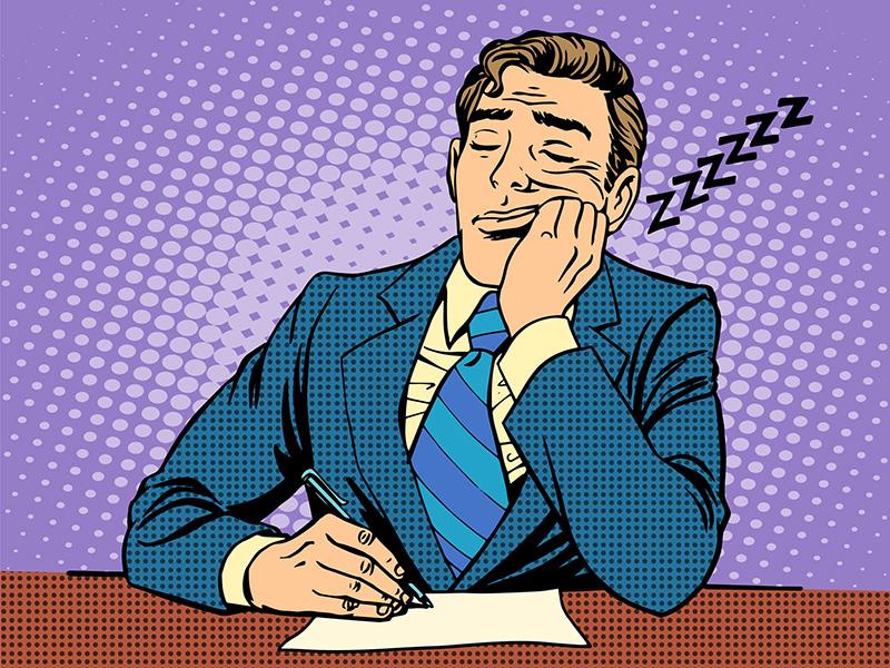 Homme d'affaires endormi devant un rapport ennuyeux, de style pop art.