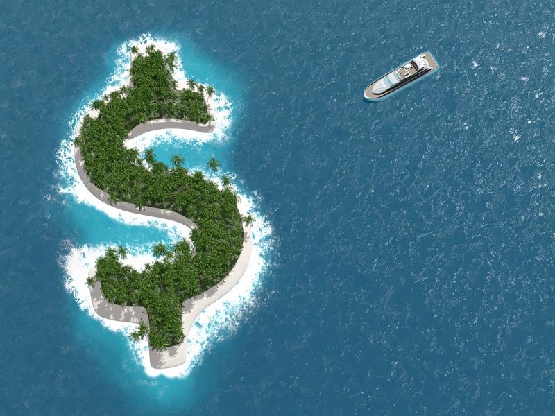 Une île en forme de symbole de dollar.