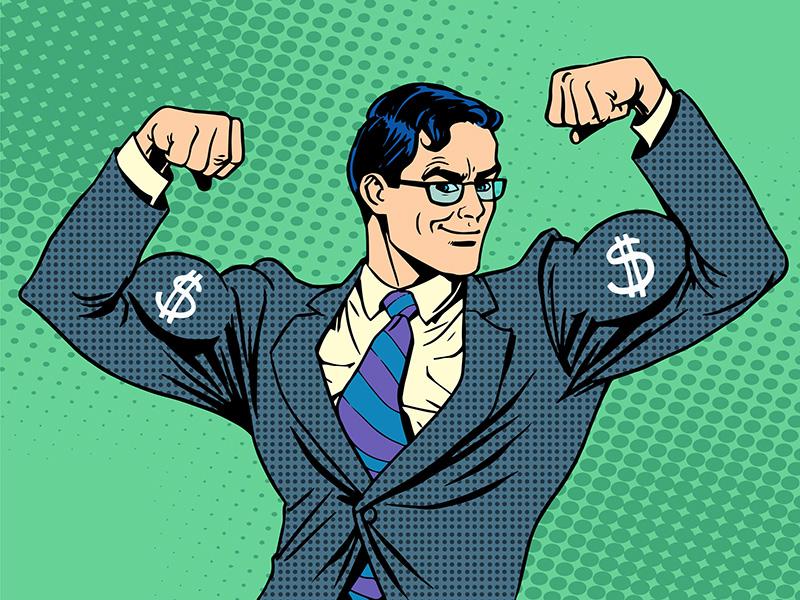 Super-héros avec symboles de dollar sur les bras.