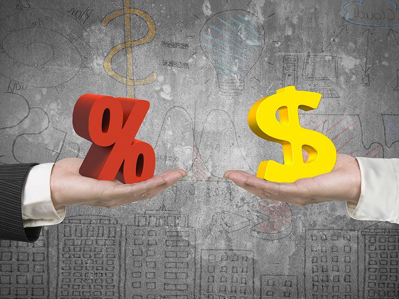 Symbole de pourcentage et un symbole de dollar.