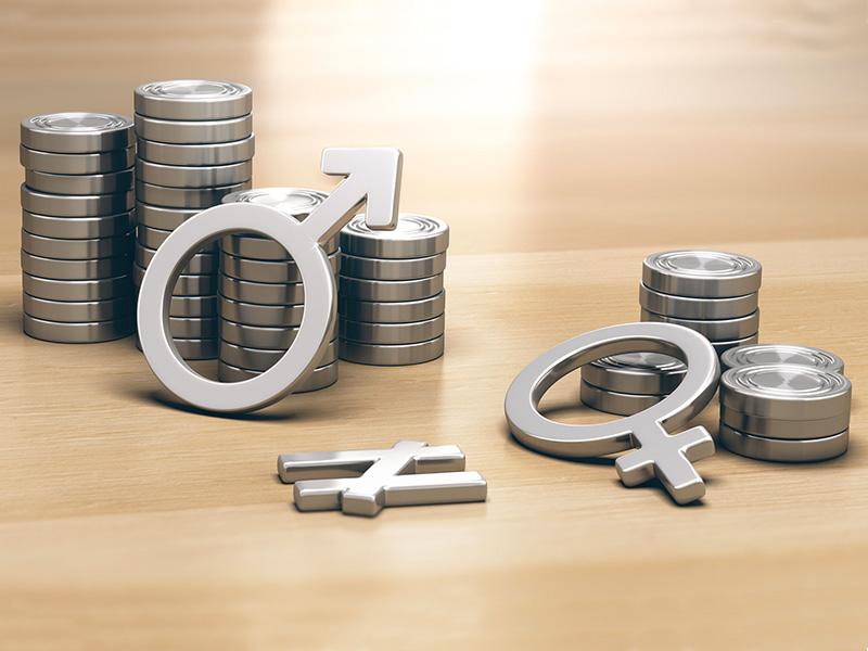 Des signes de femmes et d'hommes devant un tas d'argent. Le tas de la femme est plus petit que celui de l'homme.