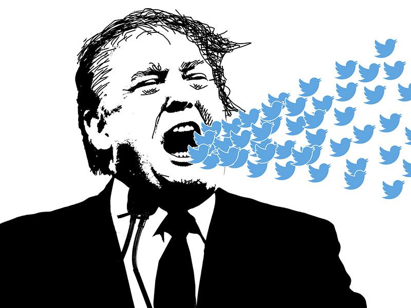Image vectorielle de Donald Trump, la bouche ouverte d'où s'échappe une envolée d'oiseaux bleus, icône de Twitter.