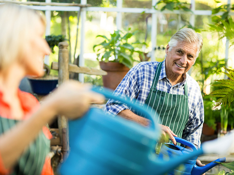 Deux employés à l'âge de la retraite, travaillant dans un commerce de jardinage.