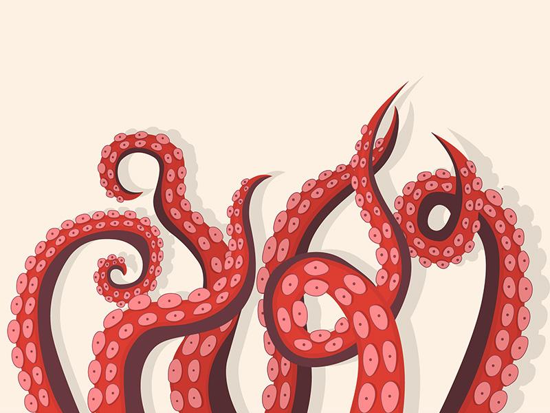 Dessin de tentacules d'une pieuvre rouge.