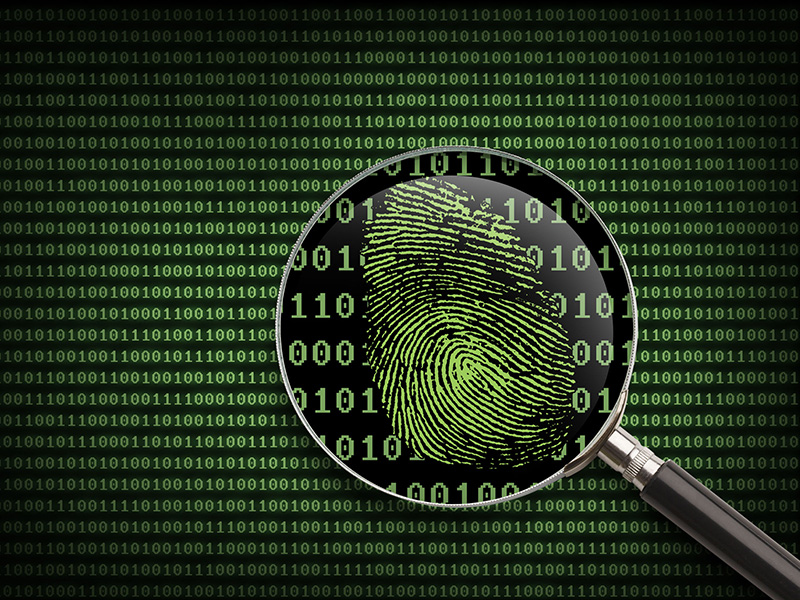 Loupe placée sur un écran d'ordinateur affichant un code informatique et une empreinte digitale.