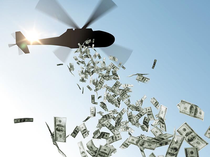 Hélicoptère larguant des billets de banque.