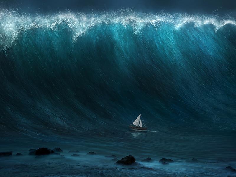 Voilier sur le point de se faire happer par une immense vague.