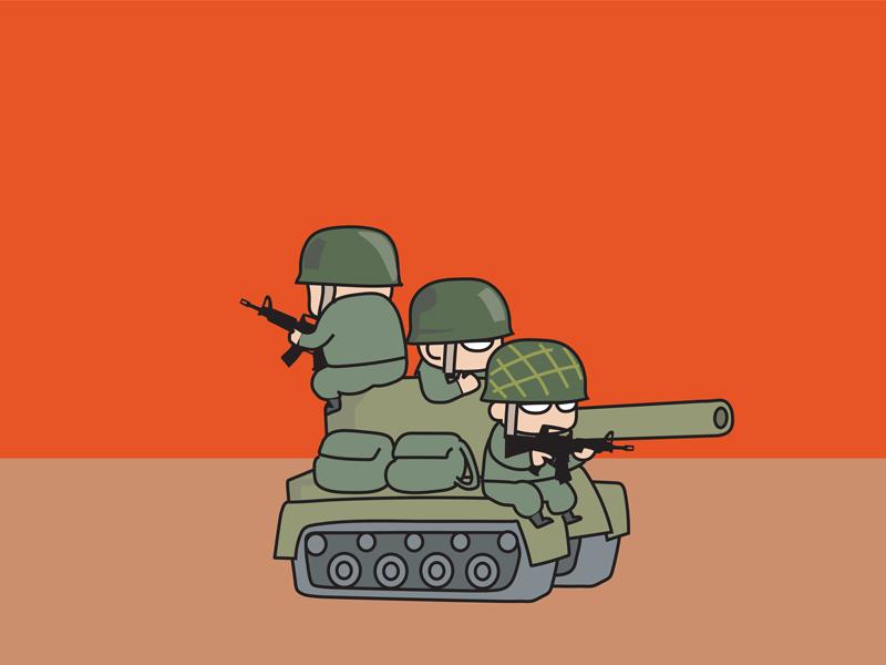 Des petits soldats dans un tank.