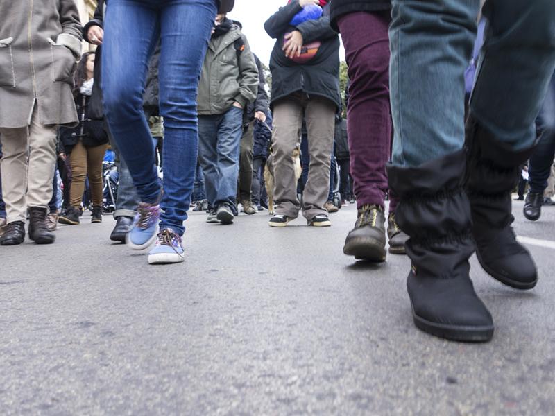 Des manifestants dans la rue