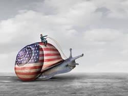 Un escargot aux couleurs du drapeau américain.