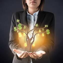 Femme d'affaires tenant un arbre miniature entre les mains.