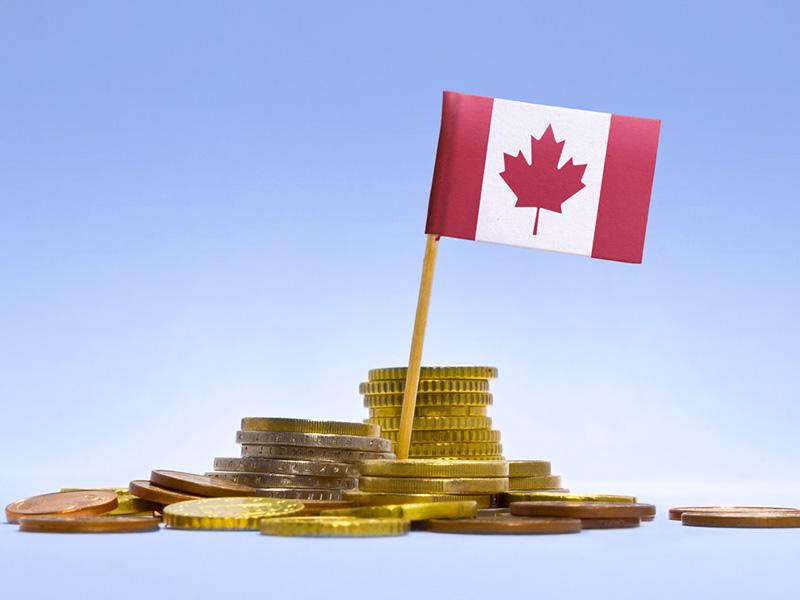 Drapeau du Canada planté dans une pile de pièces de monnaie.